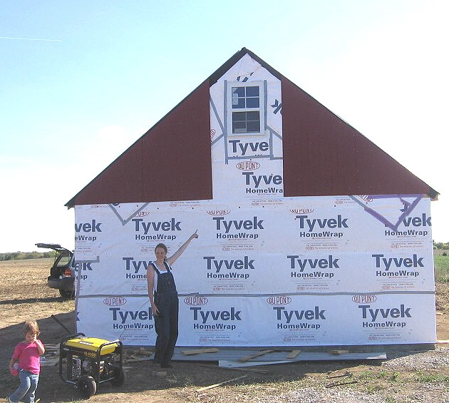 gable end w/ panel siding started