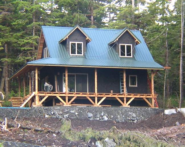 wrap around porch on alaska cabin