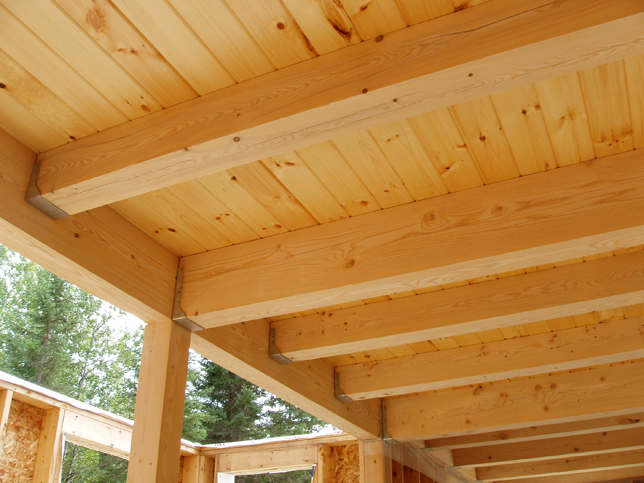 Loft beams with decking above