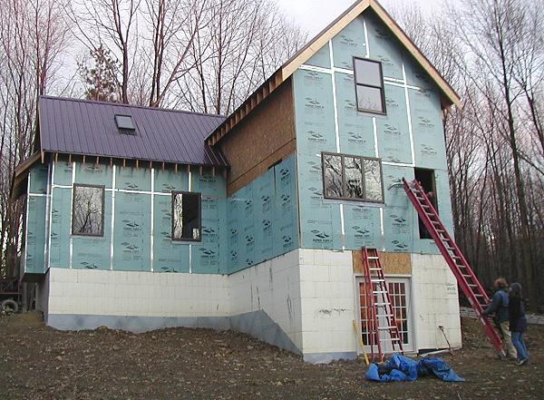 exterior insulation in place