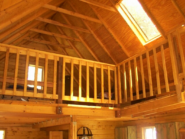 Owner-built 14x24 cabin catwalk above