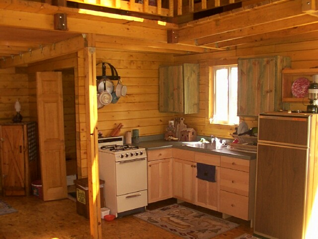 Owner-built 14x24 cabin kitchen