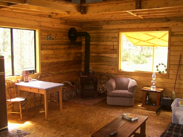 Owner-built 14x24 cabin interior